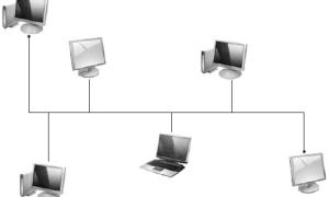 Виды топологий локальных сетей (звезда, кольцо, шина)