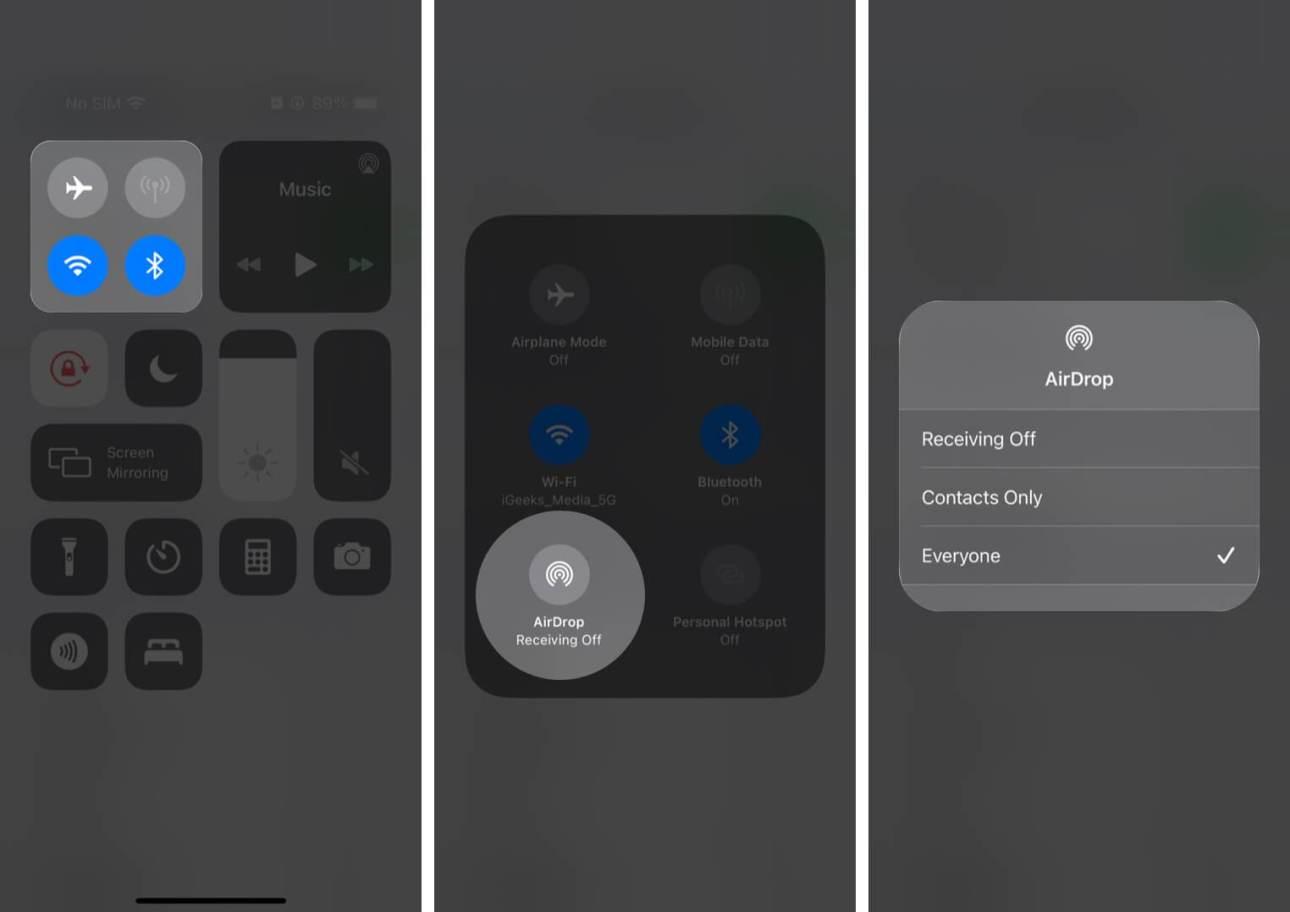 Разрешить AirDrop для всех в Центре управления на iPhone