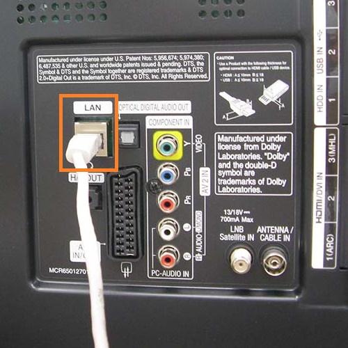 LAN порт на задней стенке телевизора
