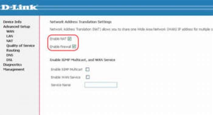 Enable Firewall, Enable NAT NetByNet