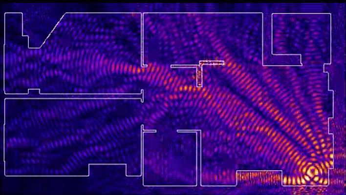 Диаграмма растрения wifi сингнала когда роутер в конце дома